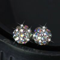 18k white gold gf made with Swarovski crystal ball stud 925 silver post earrings