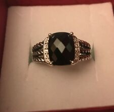 David Yurman Petite Wheaton Ring With Hematite And Diamonds 10x8mm 51/2