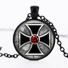 Gothic Steampunk Red photo dome Black Cabochon Glass Necklace chain Pendant