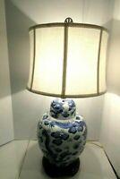 Vintage Blue and White Dragon Motif Porcelain Ginger Jar Table Lamp