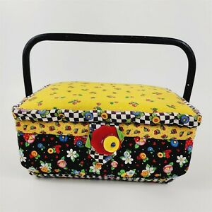 Mary Engelbreit Sewing Basket Cherrys Floral Plaid Whimsical Fabric - No Insert