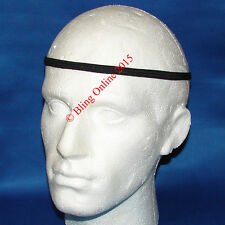 6 x LONG BLACK 1cm HEADBANDS ELASTICS HAIR HEAD BAND FOOTBALL SPORTS MENS UNISEX