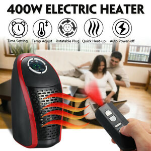 400W Electric Wall Outlet Warm Heater Instantly Heating Adjustable Plug 110-240V