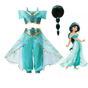 Girls Princess Jasmine Costume Halloween Party Dress Up for girl With wig