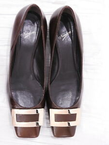New NEBULONI Brown Textured Saffiano LEATHER Buckle Pumps Heels 38 7.5 ITALY