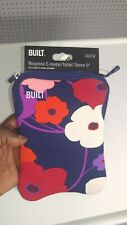 "New BUILT Slim Neoprene E-reader/tablet 6"" Sleeve Cover Case Flowers Floral"