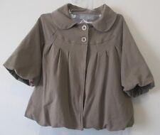 Womens S MM Couture Miss Me Olive Beige 3/4 Sleeve Swing Coat Jacket Short VGUC
