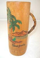 Vintage Venezuela Bamboo Wood Tiki Mug Painted Palm Tree Bent Wood Handle