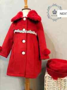BNWT Red fully lined girls coat in red and cream with matching hat