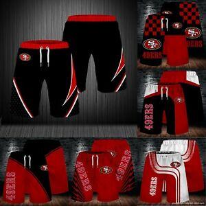 San Francisco 49ers Men's Summer Beach Shorts Workout Fitness Casual Short Pants