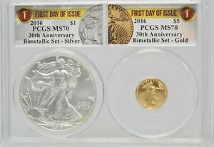 2016 PCGS MS70 Bimetallic Gold Silver $1 $5 First Day Issue US Eagle Set