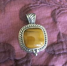 sterling silver tigers eye rope detail cushion shaped pendant EUC