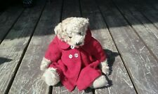 Ganz Cottage Collectibles Teddy Bear with moth eaten red wool coat