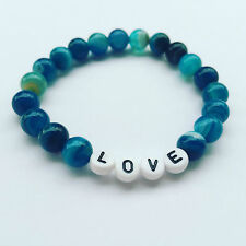 Damen Kinder Armband Namensarmband Edelsteine Perlen Achat