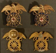 PAIR OF WW II US ARMY GILT WASHED CLOISONNE QUARTER MASTER INSIGNIA MEYER METAL