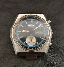 Vintage Seiko 6139-7080 Chronograph Automatic Mens Watch Hexagon Dial Black