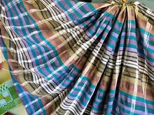 """New listing Vintage Woven Plaid Fabric Homespun With Leno Weave Detail 6 3/4yds x 43""""Wyd"""