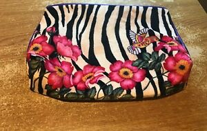Estee Lauder Humming bird Stripey flower patterned cosmetic bag new