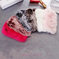 Winter Warm Soft Faux Furry Fur Phone Cover Diamond Case For iPhone Xs Max Xr X