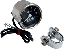 Drag Specialties 8000 rpm Chrome Electronic Tachometer Tach Black Face Harley