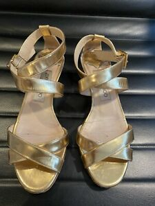 100 % Authentic Jinmy Choo Gold Leather Sandals size 36 / 3