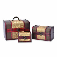 Set of 3 Golden Floral Faux Leather Treasure Chest Jewelry Organizer Box Storage