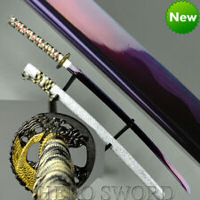 Handmade Purple Blade T1095 Steel Japanese Samurai Sword Full Tang Katana Sharp