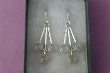 Beautiful Silver Earrings With Rose Quatz 8.7 Gr.3.8 Cm. Long +Hooks In Box