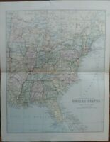 Antique map of America - Eastern part - 19th century Victorian colour map