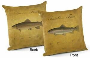 "Brown/Rainbow Trout 18"" Decorative Pillow by Peter Mathios"