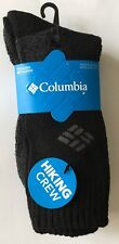 COLUMBIA Youth Black HIKING Crew Socks 2pr. NEW NWT Shoe Sz. 2-10