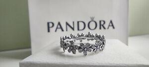 Pandora Silver Sparkling Daisy Flower Crown Ring Size - 58 ALE S925 #190934CZ