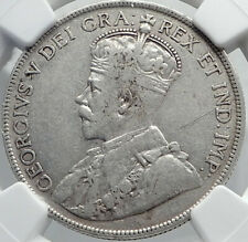 1917 CANADA Newfoundland UK King George V Genuine SILVER 50CENTS Coin NGC i81978