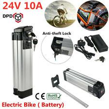 24V 10Ah Li-ion Electric E-Bike Battery Pack W/Anti-theft Lock 2A Charger Kit UK