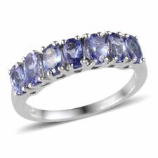 Tanzanite 7 stone Ring in Platinum O/lay S/Silver  1.75 cts size O