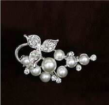 SMALL CREAM FAUX PEARL VINE BROOCH WIITH DIAMANTE RHINESTONE CRYSTALS