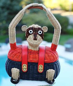 Tory Burch Wicker Turnlock Clutch Bag Go Bananas Monkey purse straw basket bag