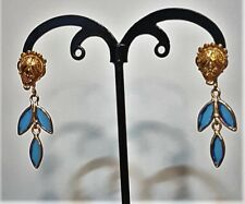 18K Etruscan Stud Earrings with Blue Art Glass Dangle Enhancers.1 1/2 in. 4.7 Gr