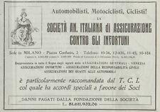 Z1991 Società An. Italiana di Assicurazione - Pubblicità d'epoca - 1920 Old ad