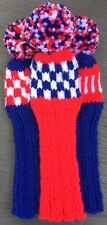 """3 HAND KNIT 10"""" GOLF HEAD COVERS RED WHITE ROYAL BLUE HYBRID IRONS FUN GIFT"""