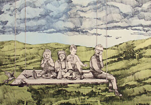 """Bill Ellingson """"Peanut Butter Jelly Picnic"""" Hand Signed Numbered Art Etching '75"""