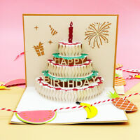 3D Pop UP Cake Cards Gift Postcard Stickers Happy Birthday Greeting Party Card