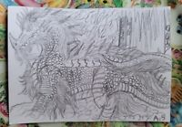ACEO Card Black & White Drawing Dragon w/ Fire Fantasy 13 year old Artist