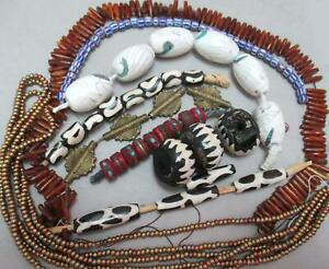 CLEANING THE CLOSETS-LARGE Collection of AFRICAN + conch Tibetan Beads