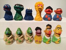 Vintage MUPPETS Toy Lot Finger Thumb Puppet Big Bird Oscar Grouch Cookie Monster