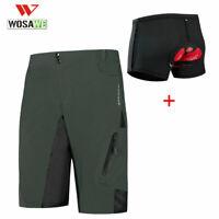 WOSAWE Men's Cycling Shorts Padded MTB Mountain Bike Pants Bicycle Shorts Black