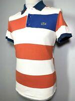 Mens Lacoste White Orange Blue Striped Polo Shirt Size S *Exclusive* 9-526