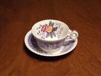 Vintage Spode Copeland Mayflower England Small Teacups and Saucer Lavender