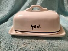 "RAE DUNN Butter Dish ""Spread"" with Navy Lettering"