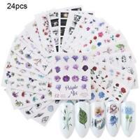 24pcs/sheet Bulk Nail Art Transfer Stickers 3D Decal Decor Art Tips V4S4